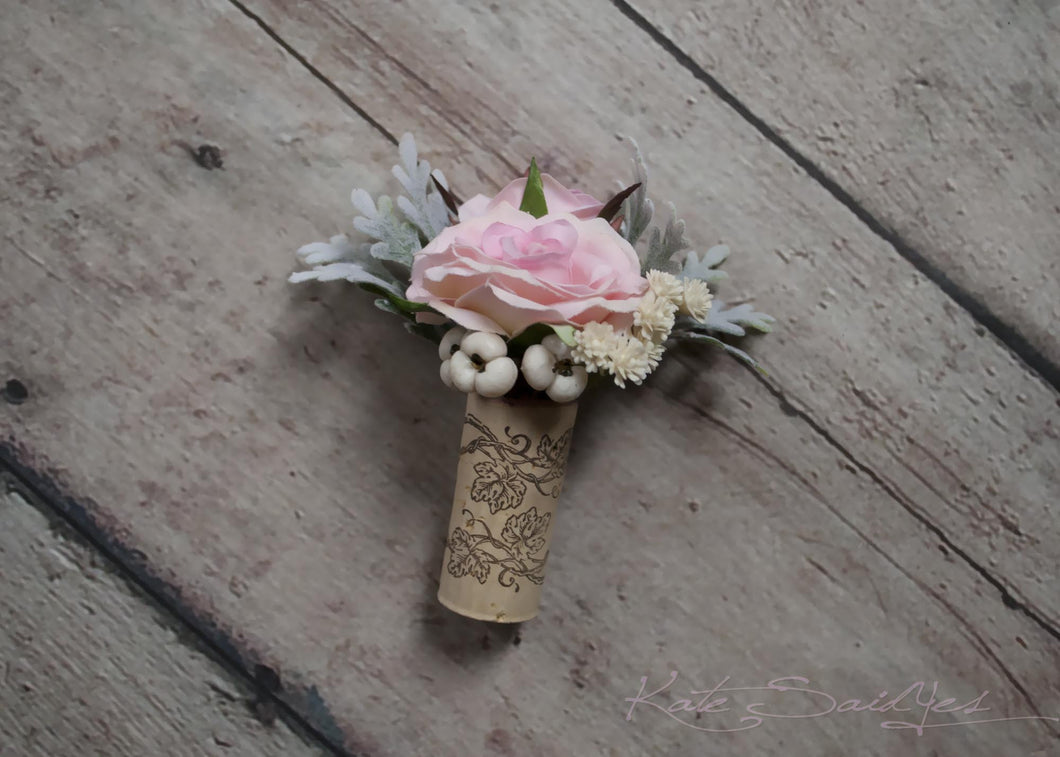 Cork Boutonniere - Blush Pink Rose Boutonniere with Dusty Miller