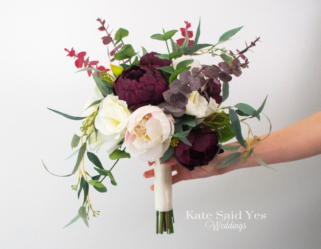 Greenery Silk Wedding Bouquet with Plum Blush and Ivory Peonies Roses and Eucalyptus