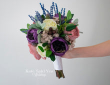 Garden Greenery Silk Wedding Bouquet with Roses Lambs Ear Eucalyptus and Lavender