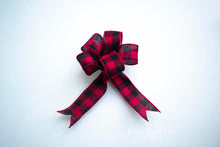Rustic Buffalo Plaid Christmas Tree Bow Ornaments - Set of 12, Red and Black Buffalo Check