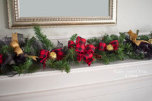 Buffalo Plaid Holiday Garland, Rustic Vintage Farmhouse Garland, Red and Gold Mantle Decor