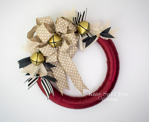 Rustic Jingle Bell Burlap Christmas Holiday Door Wreath