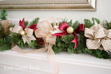 Rustic Vintage Farmhouse Garland, Red and Gold Holiday Mantle Greenery Swag Decor