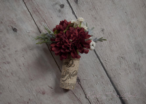 Cork Boutonniere - Burgundy Pom Boutonniere with Dusty Miller