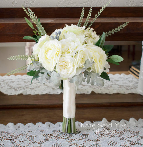 Ivory Rose and Ranunculus Garden Style Bridal Bouquet with Greenery