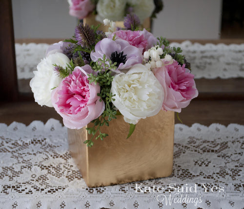 Wedding Centerpiece - Peony and Anemone Ivory Pink and Lavender Centerpiece