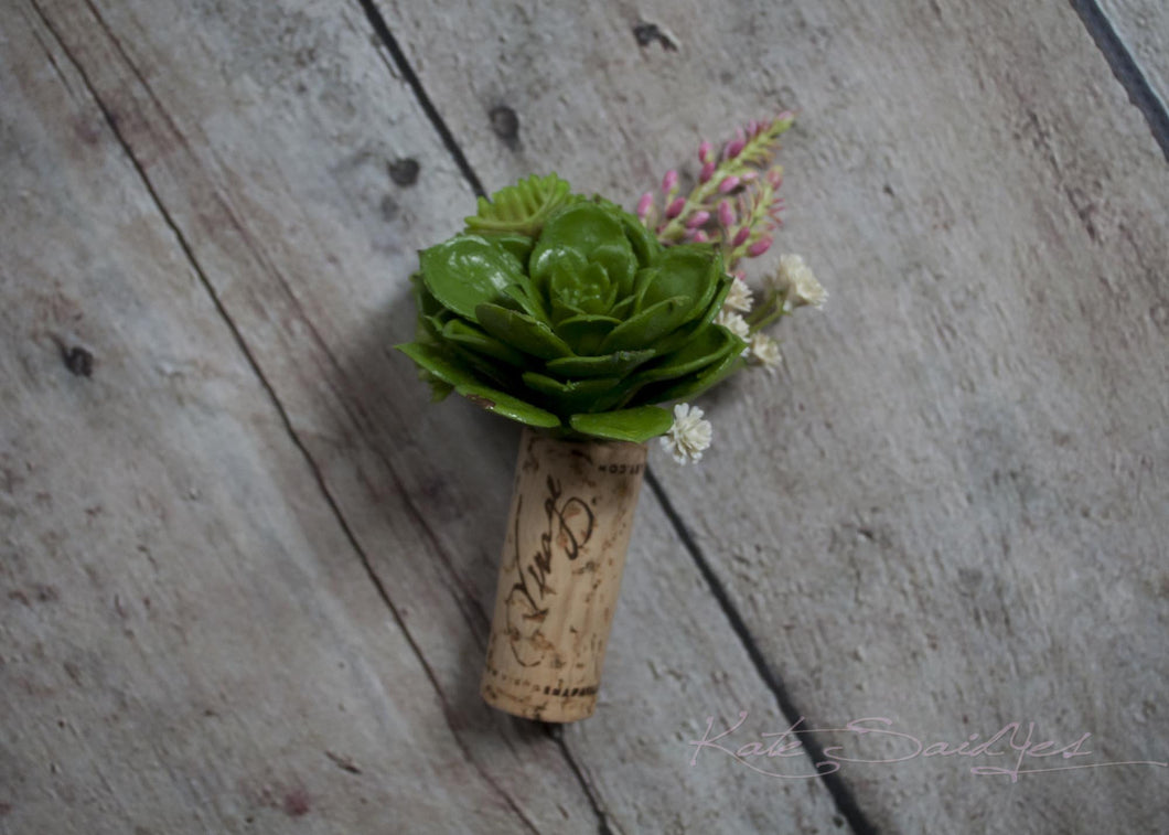 Cork Boutonniere - Green and Pink Succulent Wedding Boutonniere