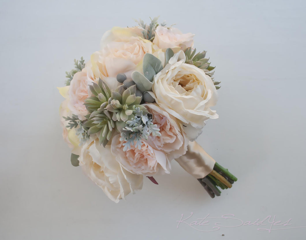 Peach Pink And Ivory Peony And Garden Rose Wedding Bouquet With Succul U2013  Kate Said Yes Weddings