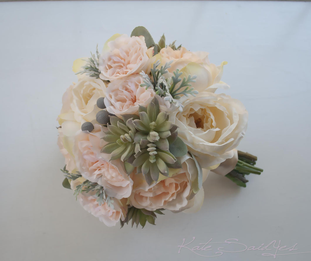 peach pink and ivory peony and garden rose wedding bouquet with succulents and dusty miller - Peach Garden Rose
