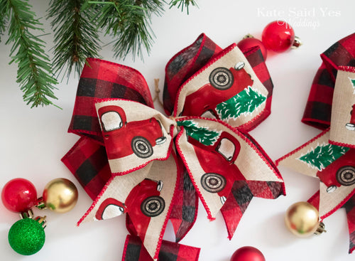 Christmas Tree Truck Ornaments, Buffalo Check Christmas Tree Bows, Buffalo Check Christmas Ornaments