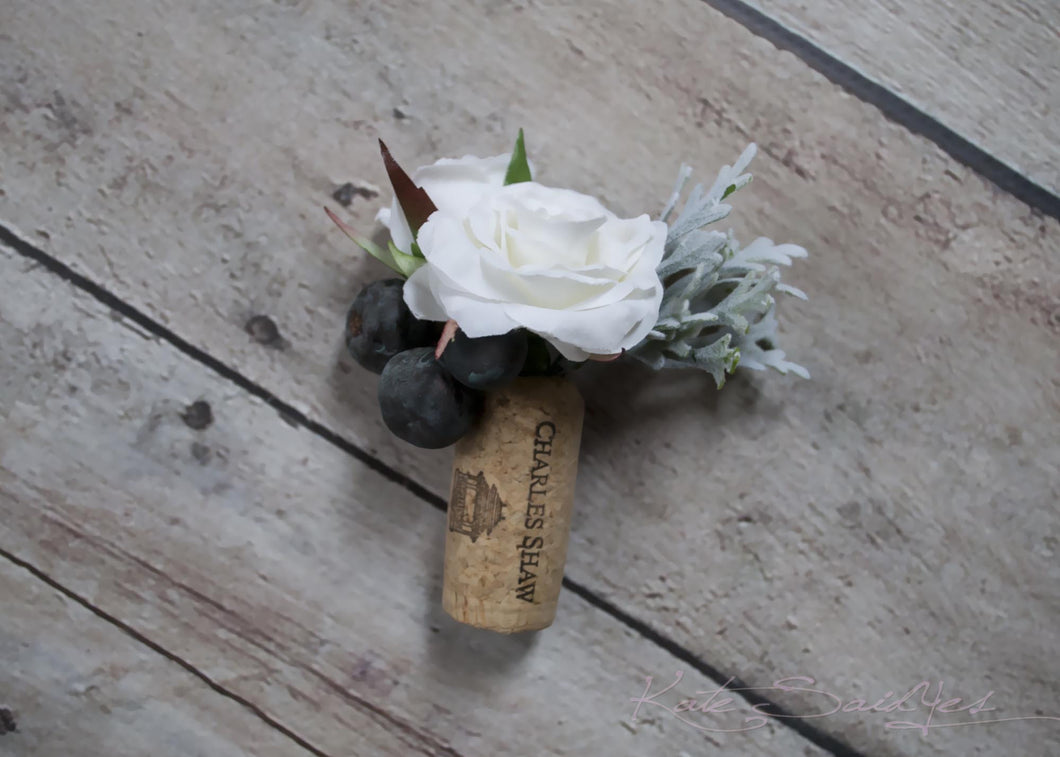 Cork Boutonniere - White Rose and Berry Wedding Boutonniere with Dusty Miller