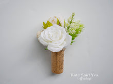 Cork Boutonniere - White Rose and Succulent Boutonniere with Berries