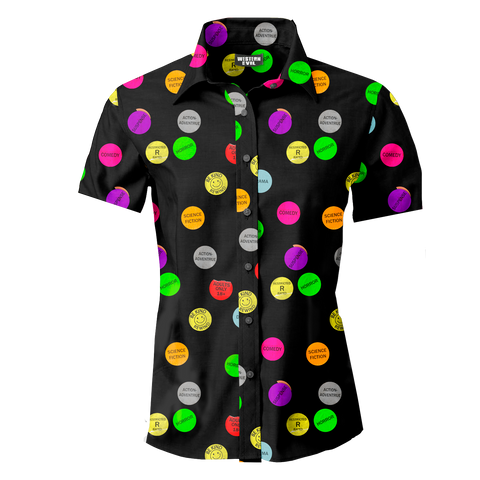 Video Store Genre Sticker Men's Button Up Shirt