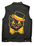 Black Cat Denim Slim Fit Vest Jet Black