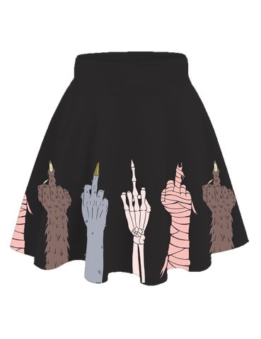 Classy Creeps Monster Middle Finger Skirt Black
