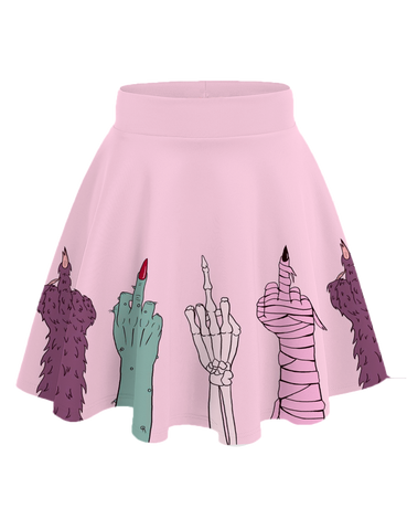 Classy Creeps Monster Middle Finger Skirt Pink