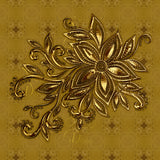 Gold Flower with Gold Patterned Background Dress - Stradling Designs
