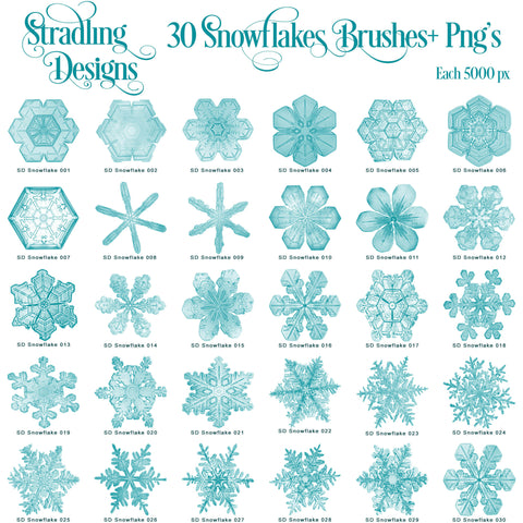 Stradling Designs 1-30 Snowflake Photoshop Brushes + Pngs - Stradling Designs