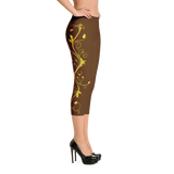 Yellow Roses Full-Up on Brown All-Over Capri Leggings