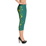 Yellow Roses Full-Up on Teal All-Over Capri Leggings