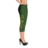 Yellow Roses Half-Up on Green All-Over Capri Leggings - Stradling Designs