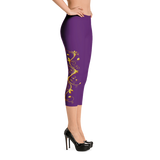 Yellow Roses Half-Up on Purple All-Over Capri Leggings - Stradling Designs