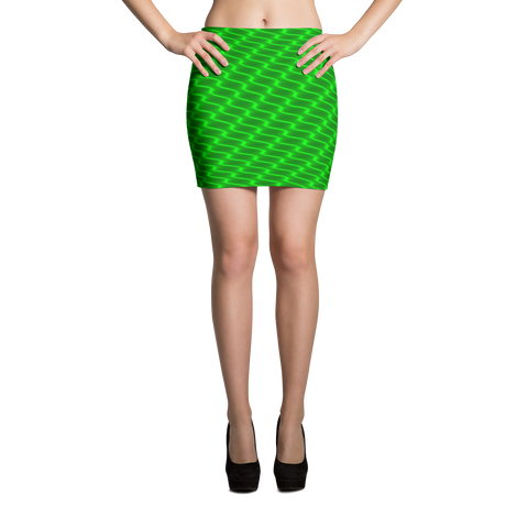 Neon Wavy Lines Green Mini Skirt - Stradling Designs