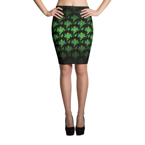 Pasiley Flower 01 Pencil Skirt Front View