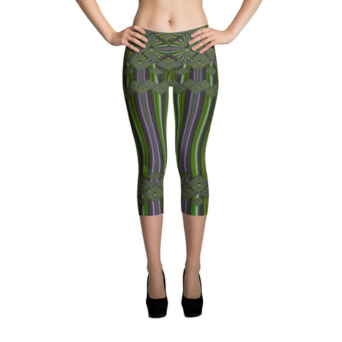 Metallic Diamonds and Stripes 8 All-over Capri Leggings - Stradling Designs