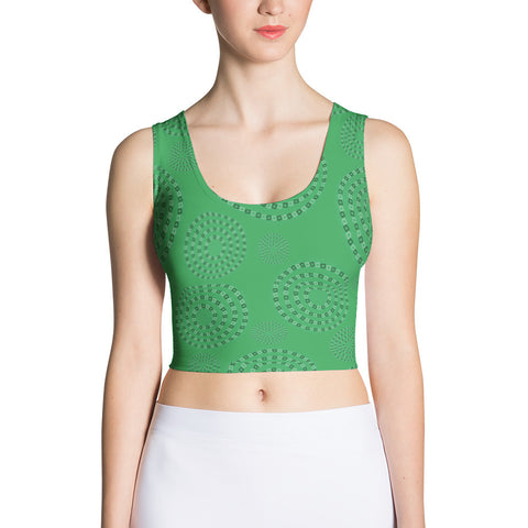 Square-Circle-Spiral Crop Top Green