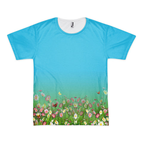 Printful Flowers-Grasses Border Print T-Shirt Front View