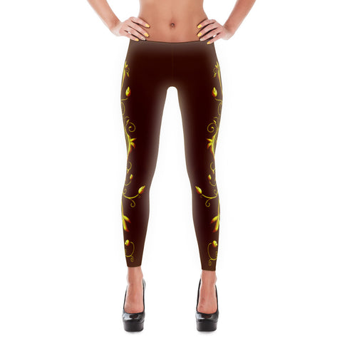 Yellow Roses Full-Up on Brown All-Over Leggings