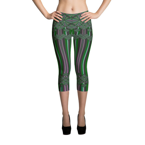 Metallic Diamonds and Stripes 7 All-over Capri Leggings - Stradling Designs