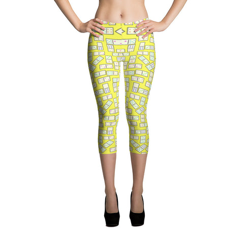 Domino Tiles on Yellow Capri Leggings - Stradling Designs