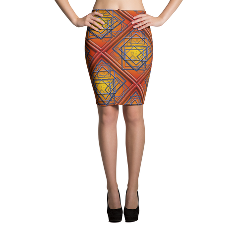 Orange Tile 2 Pencil Skirt