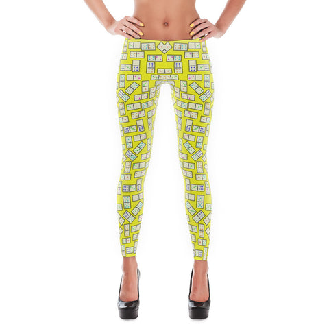 Domino Tiles Leggings Yellow - Stradling Designs