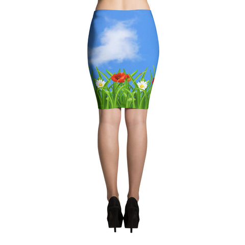 Poppies-Daisies Pencil Skirt