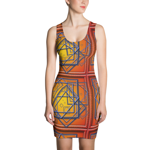Orange Tile 3 Dress - Stradling Designs