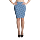 Steel Pencil Skirt Blue - Stradling Designs