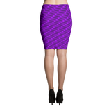 Neon Wavy Lines Purple Pencil Skirt - Stradling Designs