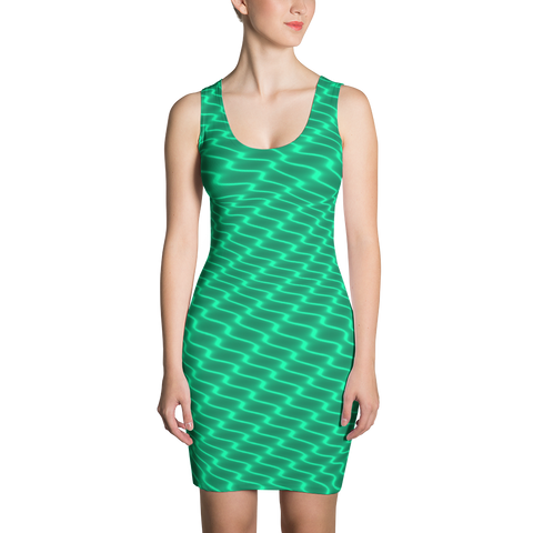 Neon Wavy Lines Teal Dress - Stradling Designs