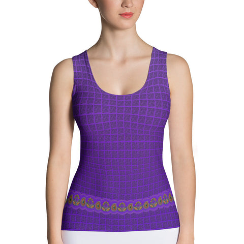 Flower Border in Purple Tank Top Front View