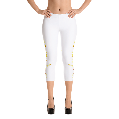 Yellow Roses Half-Up on White Capri Leggings