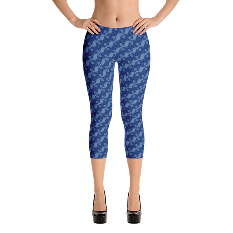 Ribbons Capri Leggings Blue - Stradling Designs