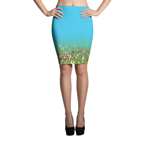 Printful Flowers-Grasses Border Print Pencil Skirt Front View