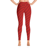 Neon Wavy Lines Red Yoga Leggings - Stradling Designs