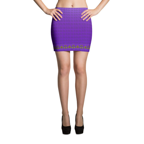 Printful Flower Border in Purple Mini Skirt Front View