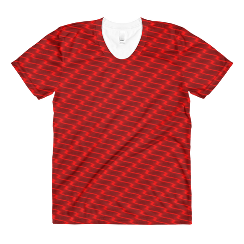 Neon Wavy Lines Red Women's Crew Neck T-shirt - Stradling Designs