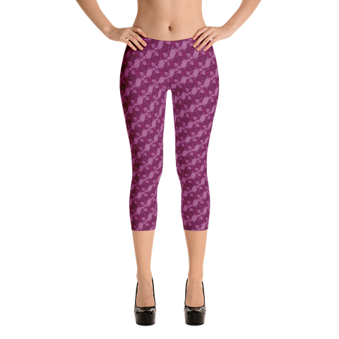 Ribbons Capri Leggings Pink - Stradling Designs