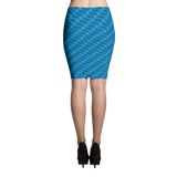 Neon Wavy Lines Turquoise Pencil Skirt